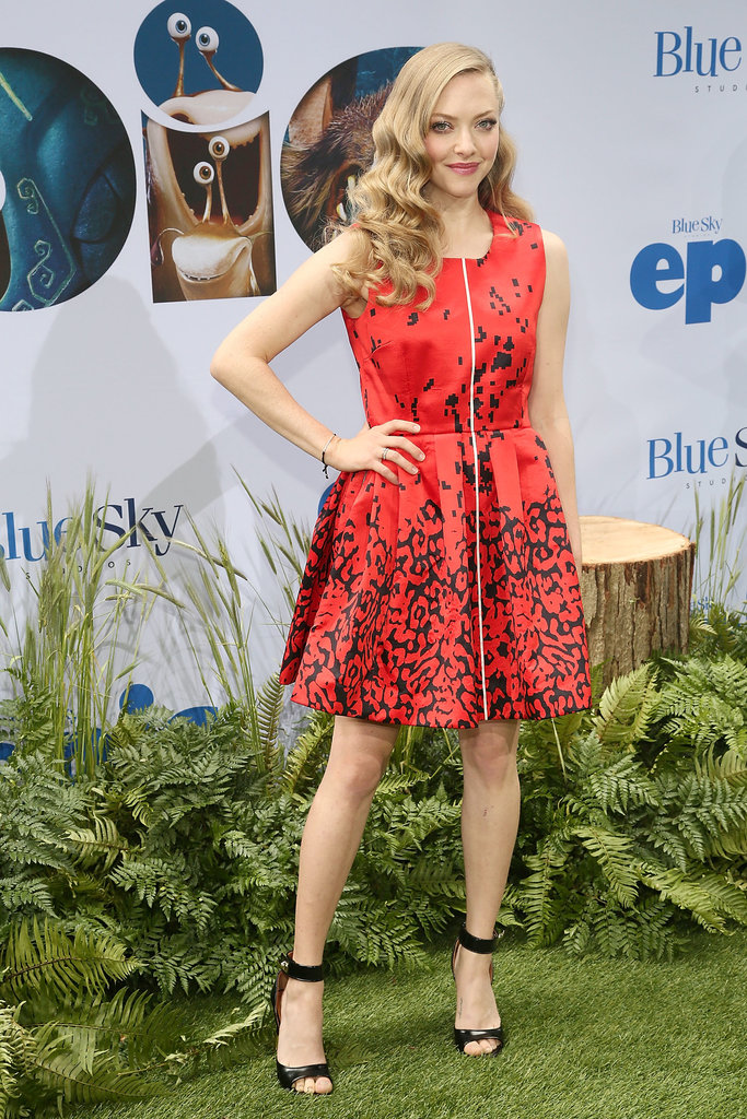 Amanda Seyfried picked a flirty red Preen dress and Summer-ready sandals to promote Epic in New York City.
