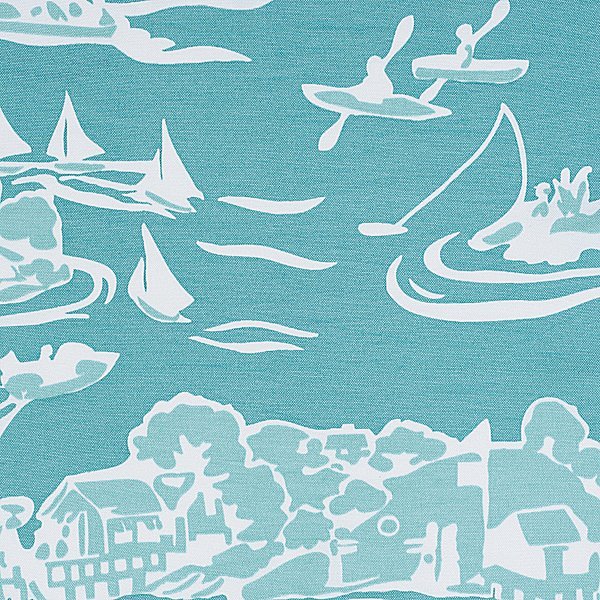 The larger scale and aquamarine hue in this Skylake Toile Fabric ($50) add a modern spin to a traditional pattern.