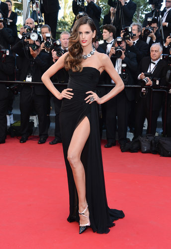 Brazilian beauty Izabel Goulart picked a black chiffon Emilio Pucci dress that flashed plenty of toned leg for her red carpet turn at the premiere of The Immigrant.