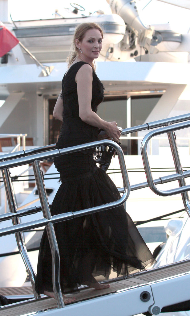 Uma Thurman boarded a yacht on Friday during the Cannes Film Festival.