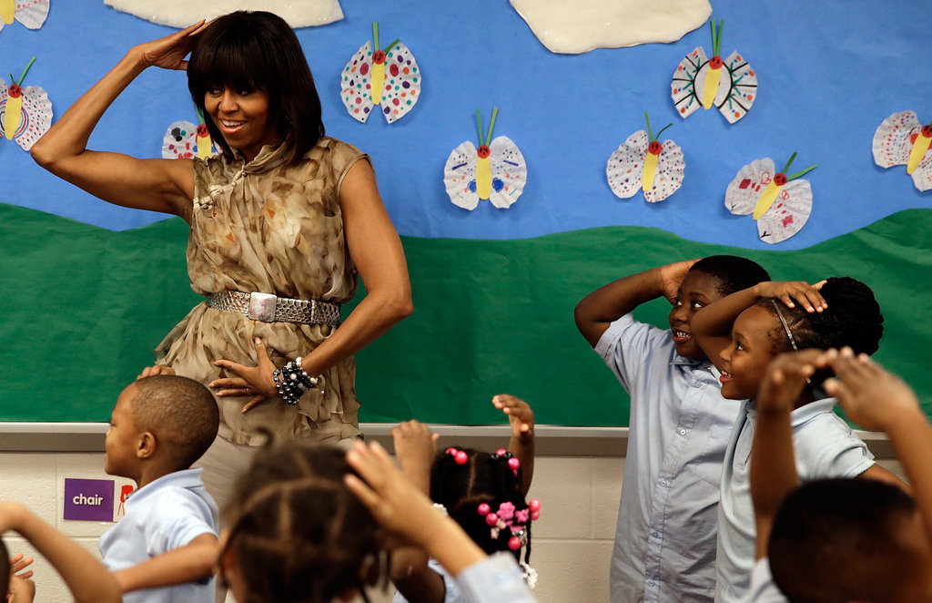 Michelle Obama danced with students.