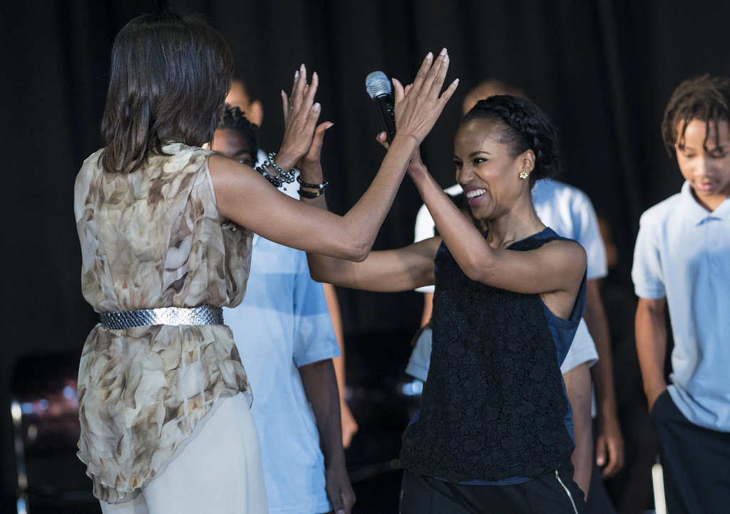 Kerry Washington and Michelle Obama high-fived on stage.
