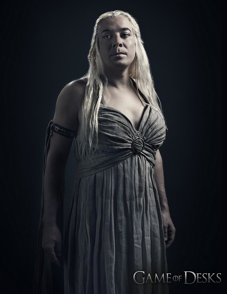 Jimmy Fallon rocks a long blonde wig to channel Daenerys Targaryen. Source: Twitter user jimmyfallon