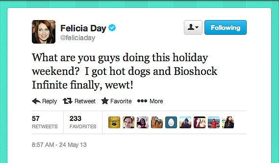 Geek and Sundry's Felicia Day does Memorial weekend right.