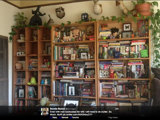 How much fun stuff do you spy on Star Wars web show host Bonnie Burton's bookshelf? We want it all (especially that framed Catgirl drawing)!
