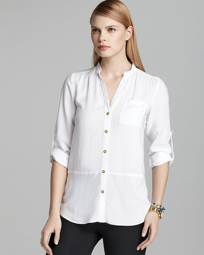 Spense Mandarin Collar Shirt with Tulip Back