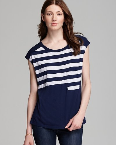 Three Dots Cap Sleeve Boxy Tee