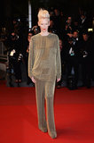 Tilda Swinton went all gold at the Only Lovers Left Alive screening, picking a slouchy matched pantsuit.
