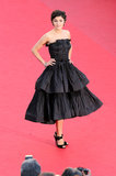 It was a flirty, black tea-length dress for Audrey Tautou, also seen at the Venus in Fur screening.