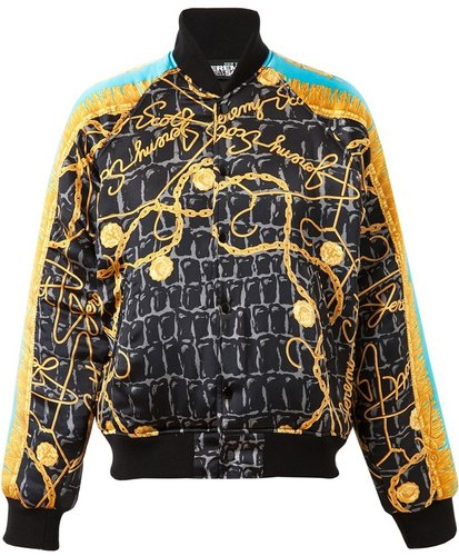 Jeremy Scott Scarf Printed Silk Bomber Jacket