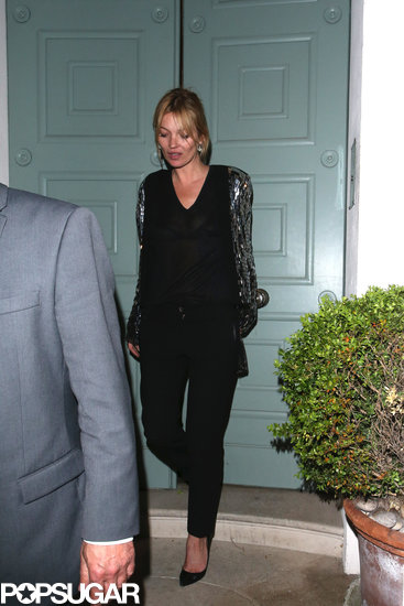 Kate Moss left a friend's house in London.