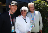 Michael Douglas and Ron Howard chatted with F1 honcho Bernie Ecclestone.