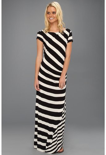 DKNYC - S/S Striped Maxi Dress (Black) - Apparel