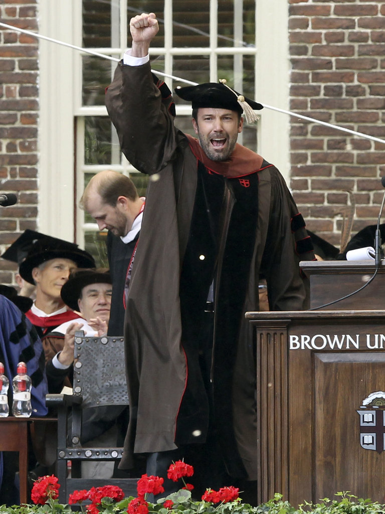 Ben Affleck cheered before accepting his doctorate diploma at Brown University.