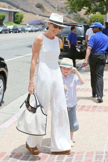 Minnie Driver and son Henry headed inside producer Joel Silver's Malibu party on Monday.