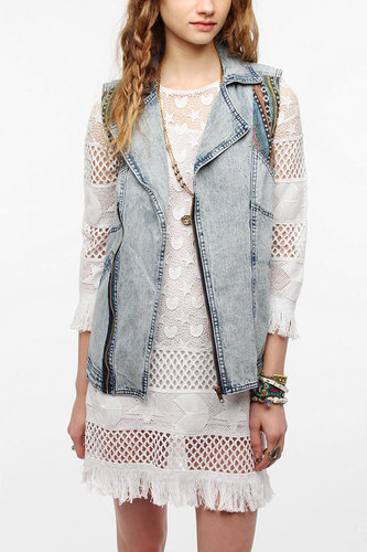 Staring At Stars Blanket Inset Denim Moto Vest