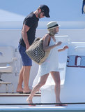 Chace Crawford exited a boat.