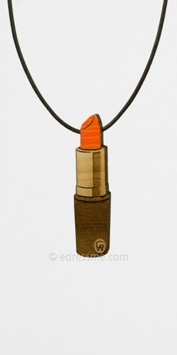 Orange Lipstick Necklace by Good Wood