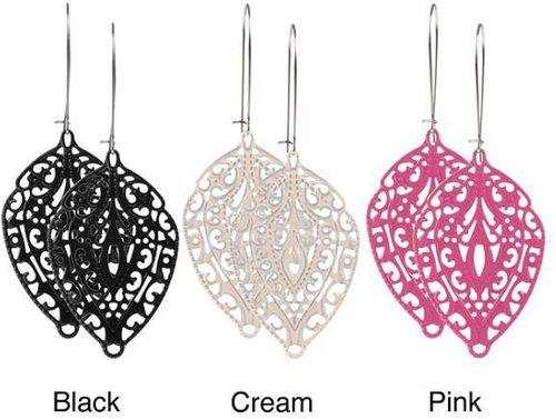 Journee Collection Silvertone Handmade Lace-style Leaf Earrings
