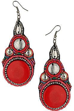 Bright beaded ethnic earrings