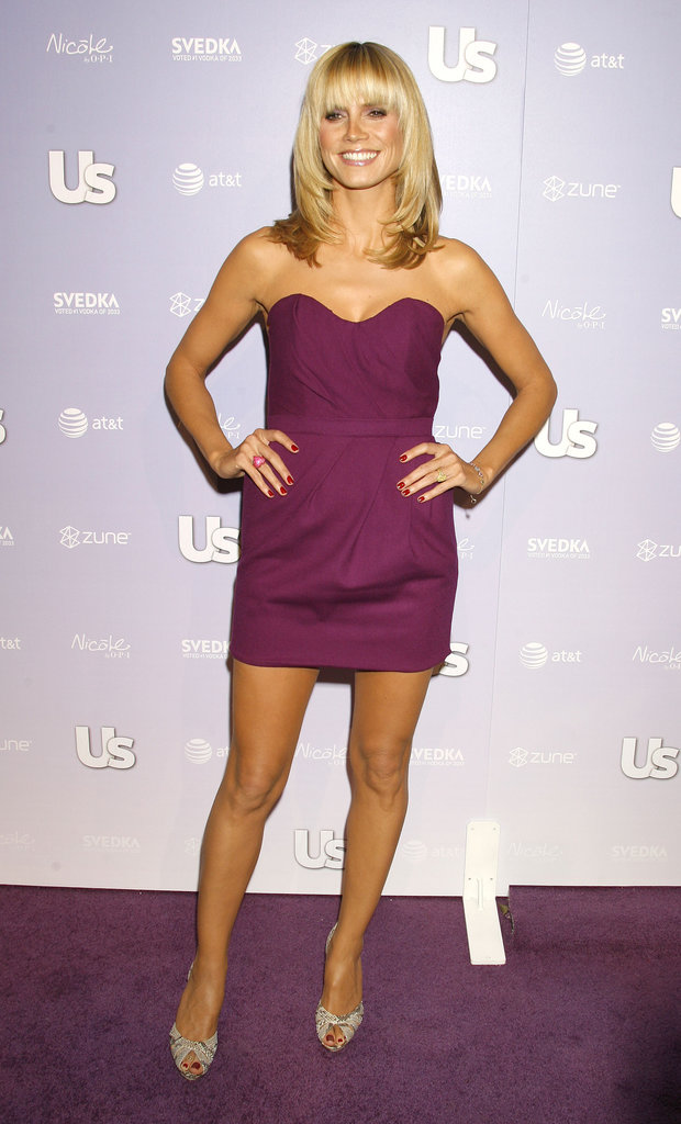 The blond bombshell nailed the less is more look in a strapless eggplant mini and python peep-toes for Us Weekly's Hot Hollywood party in 2008.