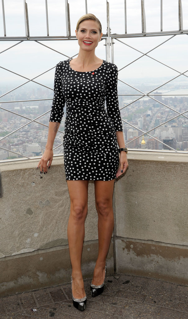 While lighting the Empire State Building in April 2012, Heidi highlighted her svelte figure in a black-and-white polka-dot Dolce & Gabbana body-con dress and Christian Louboutin pumps.
