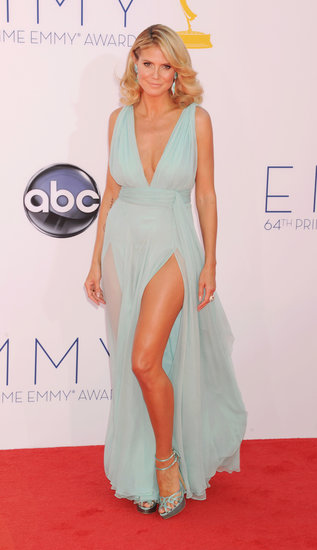 Klum had us dreaming of the tropics, working this frothy seafoam-blue Alexandre Vauthier at the 2012 Emmy Awards. The gown pushed the risqué envelope with a plunging neckline and not one, but two thigh-high slits.