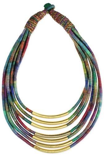 Z Designs Gold Bar Thread Necklace