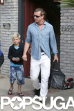 Gavin Rossdale left the party with his family.