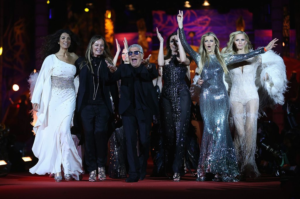 Roberto and Eva Cavalli with models from the runway show at the 2013 Life Ball in Vienna, Austria.  Photo courtesy of Robert Cavalli
