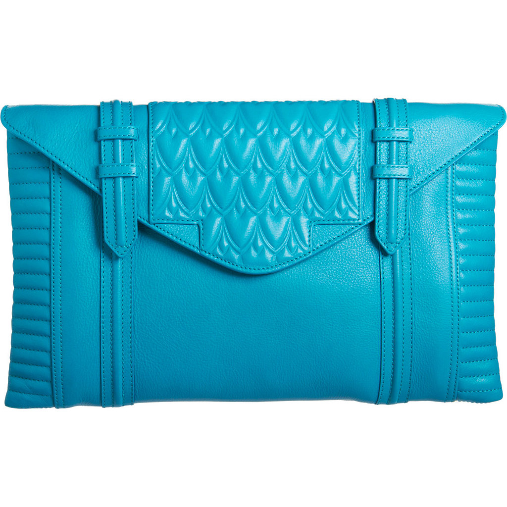 Up-and-coming accessories line Reece Hudson has perfected basics with a twist, like this embossed, bright turquoise clutch ($419, originally $695).