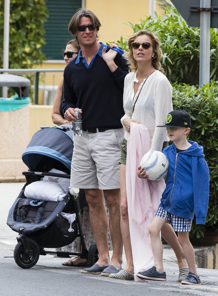 Eva Herzigova and her boyfriend, Gregorio Marsiaj, took their sons, George and Edward, out for ice cream in Varigotti, Italy.