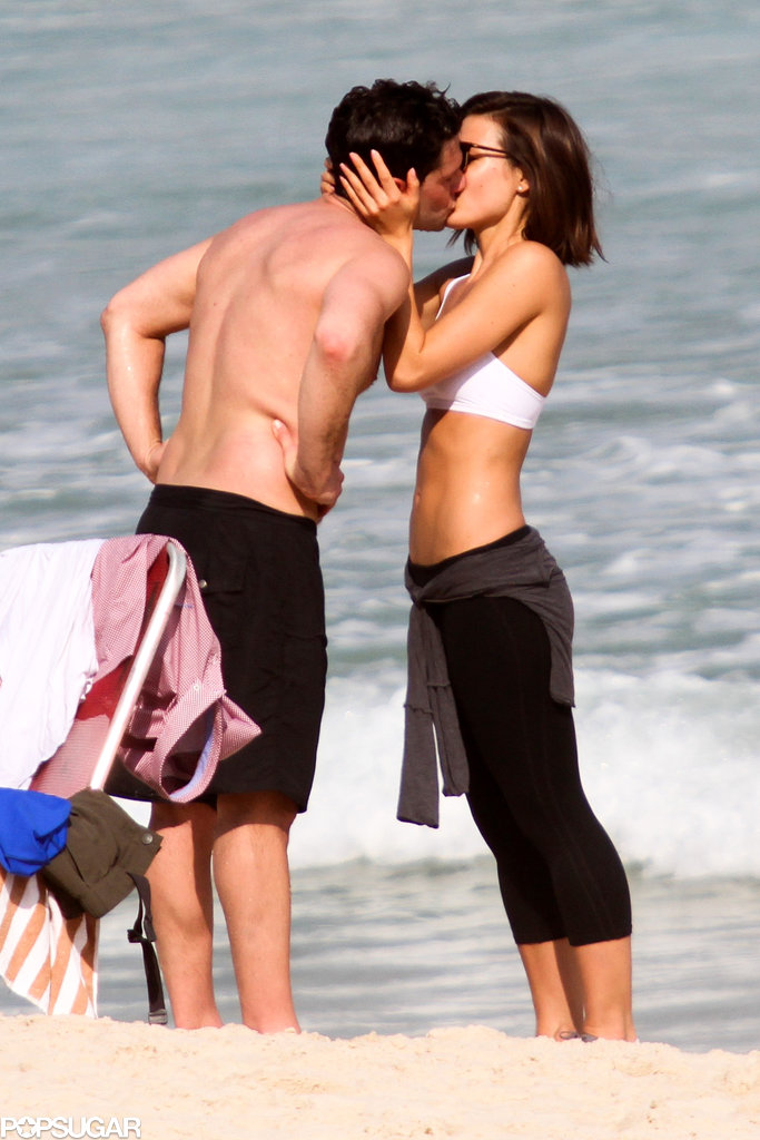 Justin Bartha showed PDA on the beach with his fiancée, Lia Smith.