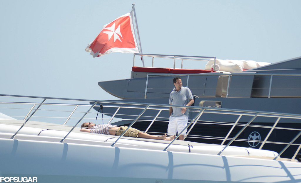 Leonardo DiCaprio laid out on a yacht on Tuesday.