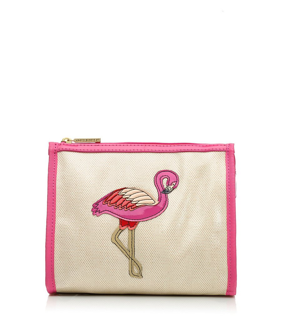 Throw makeup, hair products, and sunscreen in a durable bag that won't get ruined going through the airport security scan and to your hotel bathroom. Tory Burch's playful flamingo zip-up ($88) is made of coated canvas, which will keep it in good shape for many trips to come.