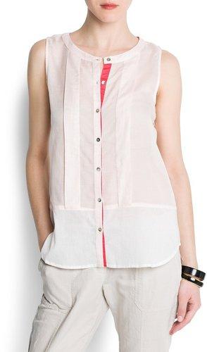 Contrast panel blouse