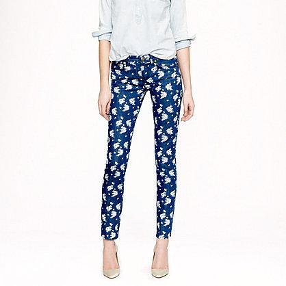 Cropped matchstick jean in indigo floral