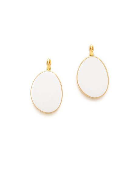 We love the thought of pairing these Kenneth Jay Lane enamel earrings ($44) with a sleek white sheath to further the elegant effect.