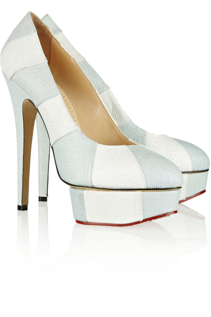 Priscilla Glitter-Finished Snake-Effect Leather Platform Pumps ($588, originally $1,595)