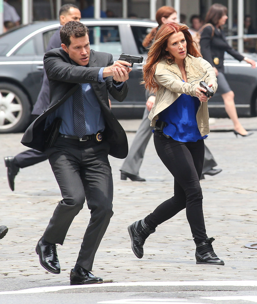 Poppy Montgomery and Dylan Walsh filmed scenes on the set of Unforgettable in NYC on Wednesday.