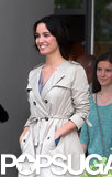 Bérénice Marlohe wore a trench coat in NYC on Tuesday while filming the movie 5 to 7.