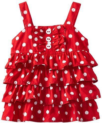 Hartstrings Girls 2-6x Toddler Poplin Tierred Top