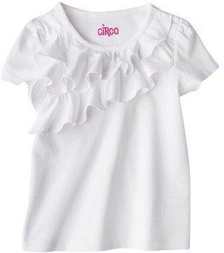 Circo® Infant Toddler Girls' Short-sleeve Ruffle Front Tee - White
