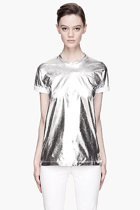 VERSUS Metallic Silver Jersey T-Shirt