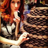 Taylor Tomasi Hill stayed cool — and stylish — while indulging in an Oreo cake and smoothie. Source: Instagram user ttomasihill