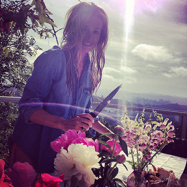 Cat Deeley played hostess and cut fresh flowers for Poppy Delevingne. Source: Instagram user poppydelevingne