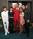 The Smiths — from left, Jaden, Willow, Will, Jada and Trey — hit the After Earth premiere in New York together on May 30.