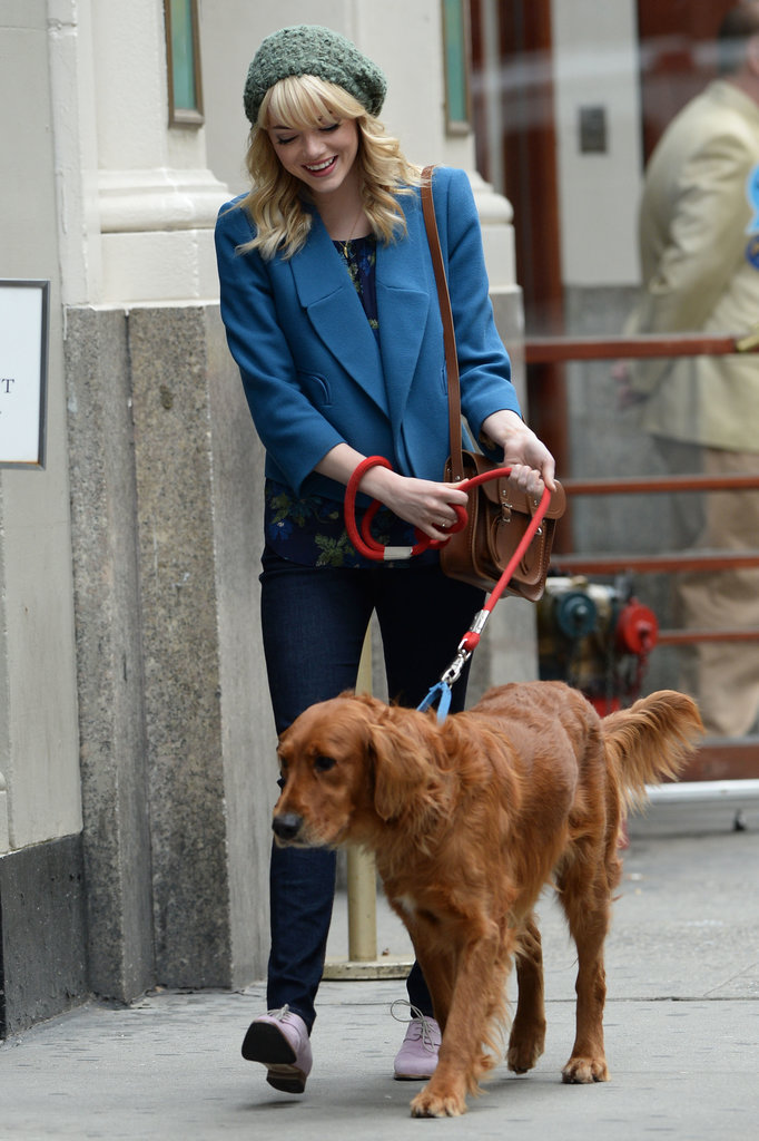 Emma Stone walked boyfriend Andrew Garfield's dog while on location in New York City on May 28.