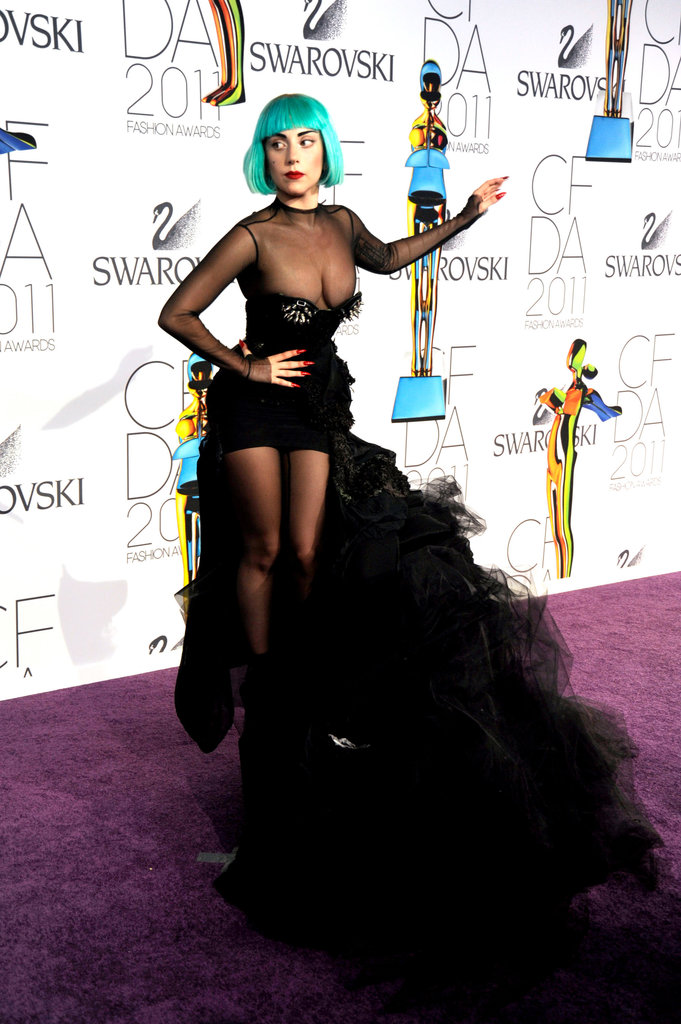 And then there's Lady Gaga. The pop sensation claimed our attention in 2011 when she wore this sexy, sheer Mugler number, complete with ultravoluminous train.