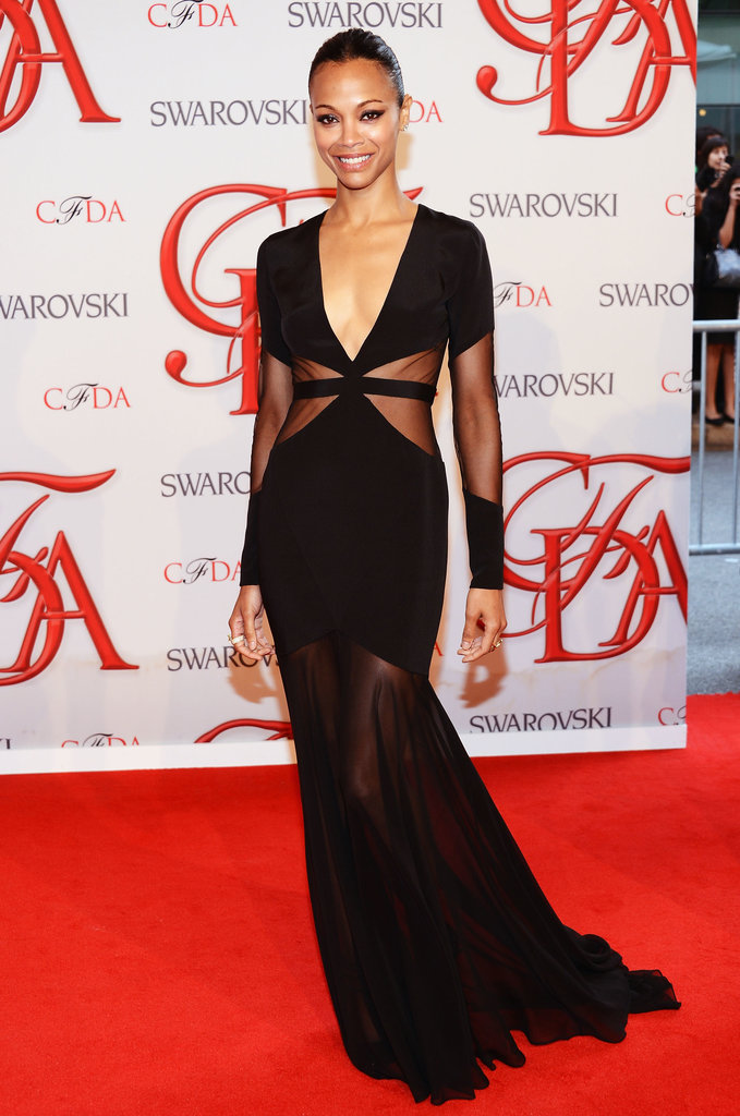 At last year's awards, Zoe Saldana looked perfect in a sexy black Prabal Gurung floor-sweeper with a low neckline and sheer paneling.